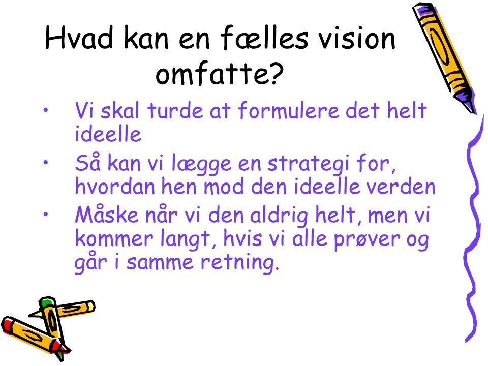 Hvad kan en fælles vision omfatte.