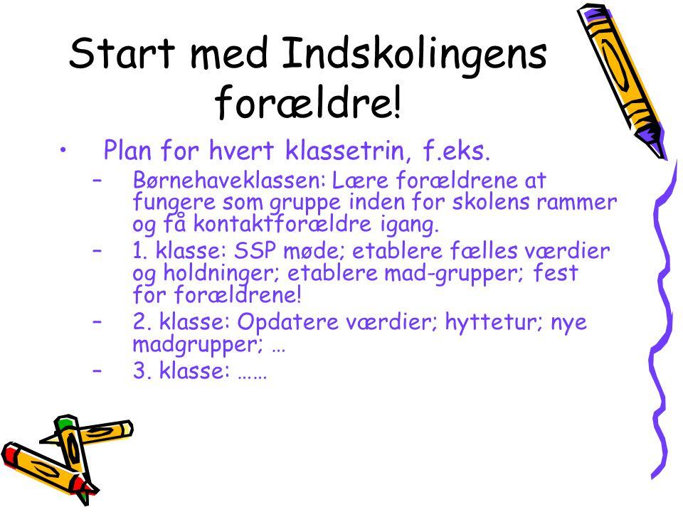 Start med Indskolingens forældre. Plan for hvert klassetrin, f.eks.