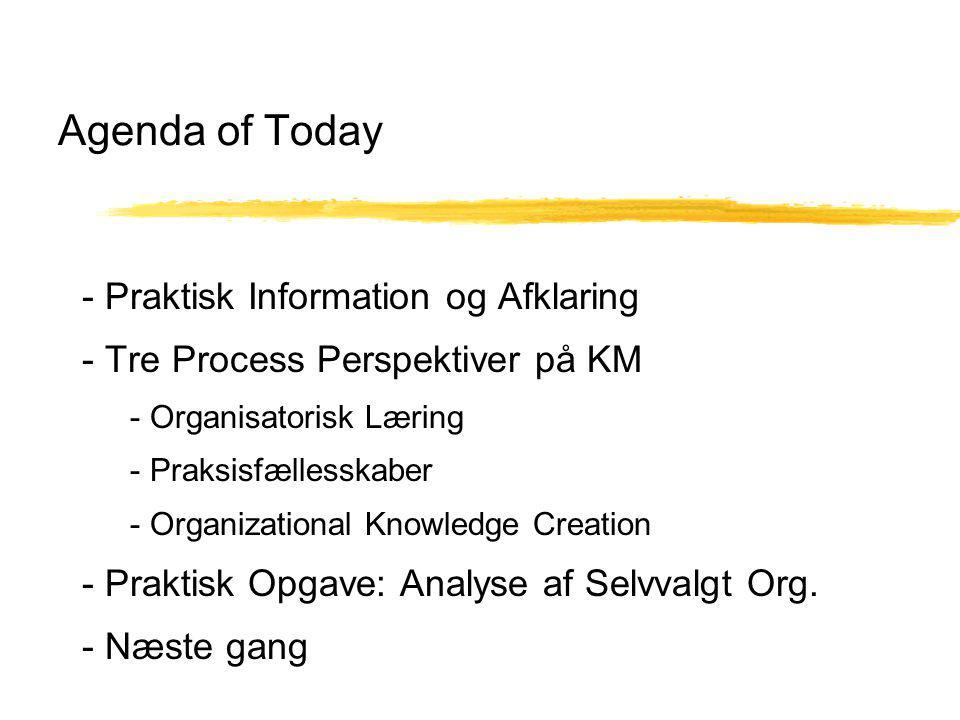 Agenda of Today - Praktisk Information og Afklaring - Tre Process Perspektiver på KM - Organisatorisk Læring - Praksisfællesskaber - Organizational Knowledge Creation - Praktisk Opgave: Analyse af Selvvalgt Org.