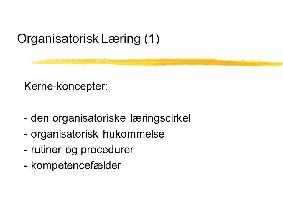 Organisatorisk Læring (1) Kerne-koncepter: - den organisatoriske læringscirkel - organisatorisk hukommelse - rutiner og procedurer - kompetencefælder