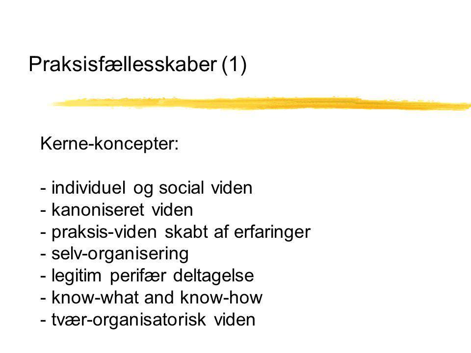 Praksisfællesskaber (1) Kerne-koncepter: - individuel og social viden - kanoniseret viden - praksis-viden skabt af erfaringer - selv-organisering - legitim perifær deltagelse - know-what and know-how - tvær-organisatorisk viden