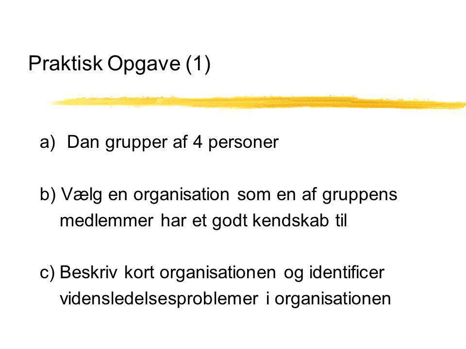 Praktisk Opgave (1) a) Dan grupper af 4 personer b) Vælg en organisation som en af gruppens medlemmer har et godt kendskab til c) Beskriv kort organisationen og identificer vidensledelsesproblemer i organisationen