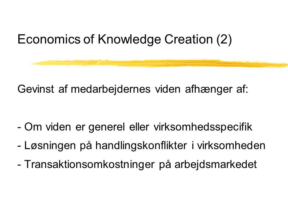 Economics of Knowledge Creation (2) Gevinst af medarbejdernes viden afhænger af: - Om viden er generel eller virksomhedsspecifik - Løsningen på handlingskonflikter i virksomheden - Transaktionsomkostninger på arbejdsmarkedet