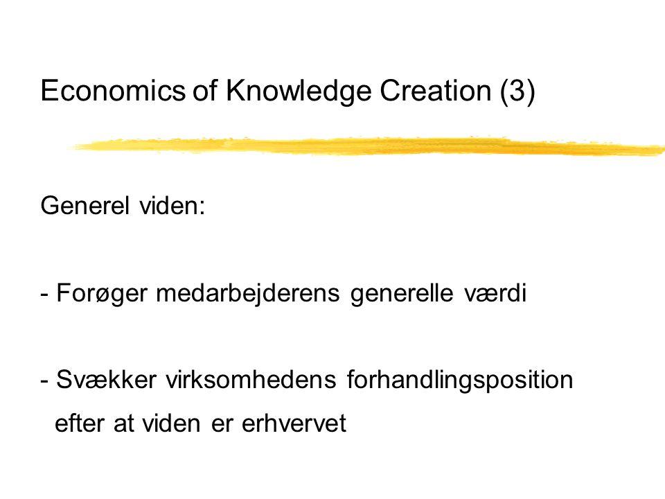 Economics of Knowledge Creation (3) Generel viden: - Forøger medarbejderens generelle værdi - Svækker virksomhedens forhandlingsposition efter at viden er erhvervet