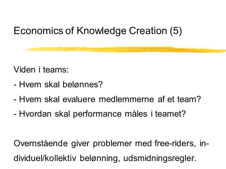 Economics of Knowledge Creation (5) Viden i teams: - Hvem skal belønnes.