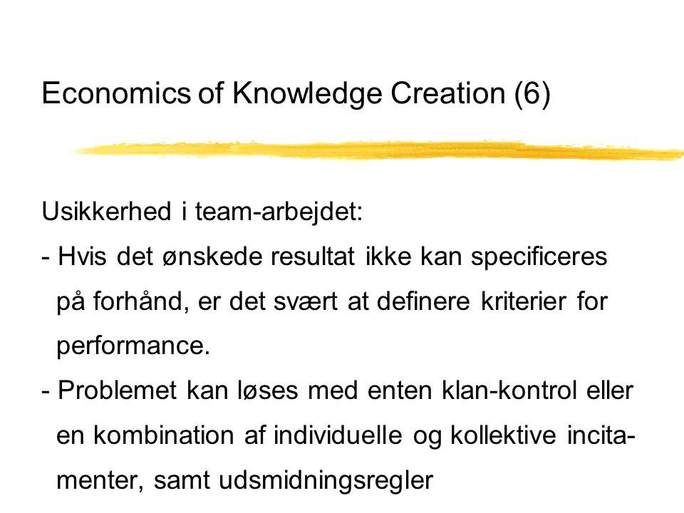 Economics of Knowledge Creation (6) Usikkerhed i team-arbejdet: - Hvis det ønskede resultat ikke kan specificeres på forhånd, er det svært at definere kriterier for performance.