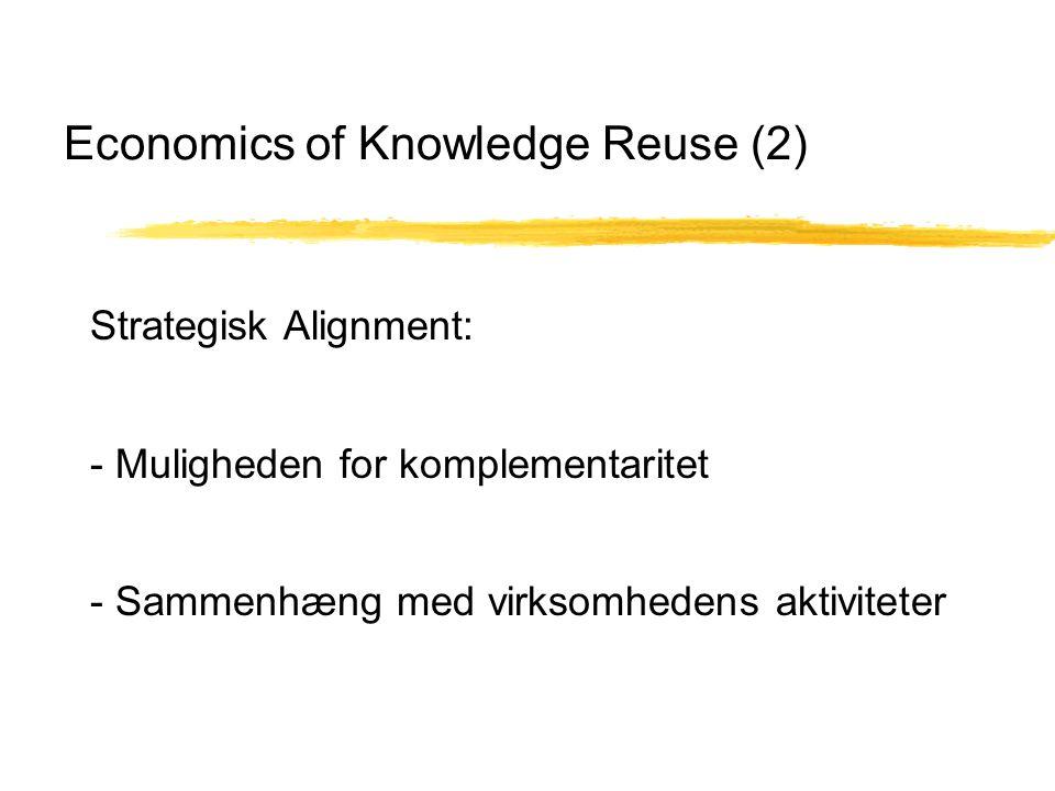 Economics of Knowledge Reuse (2) Strategisk Alignment: - Muligheden for komplementaritet - Sammenhæng med virksomhedens aktiviteter