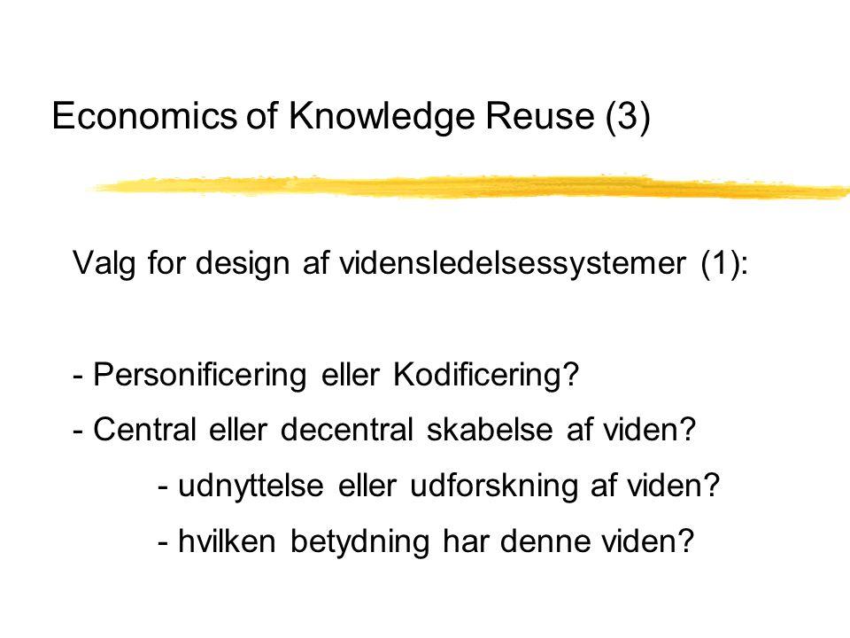 Economics of Knowledge Reuse (3) Valg for design af vidensledelsessystemer (1): - Personificering eller Kodificering.
