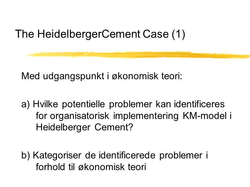 The HeidelbergerCement Case (1) Med udgangspunkt i økonomisk teori: a) Hvilke potentielle problemer kan identificeres for organisatorisk implementering KM-model i Heidelberger Cement.