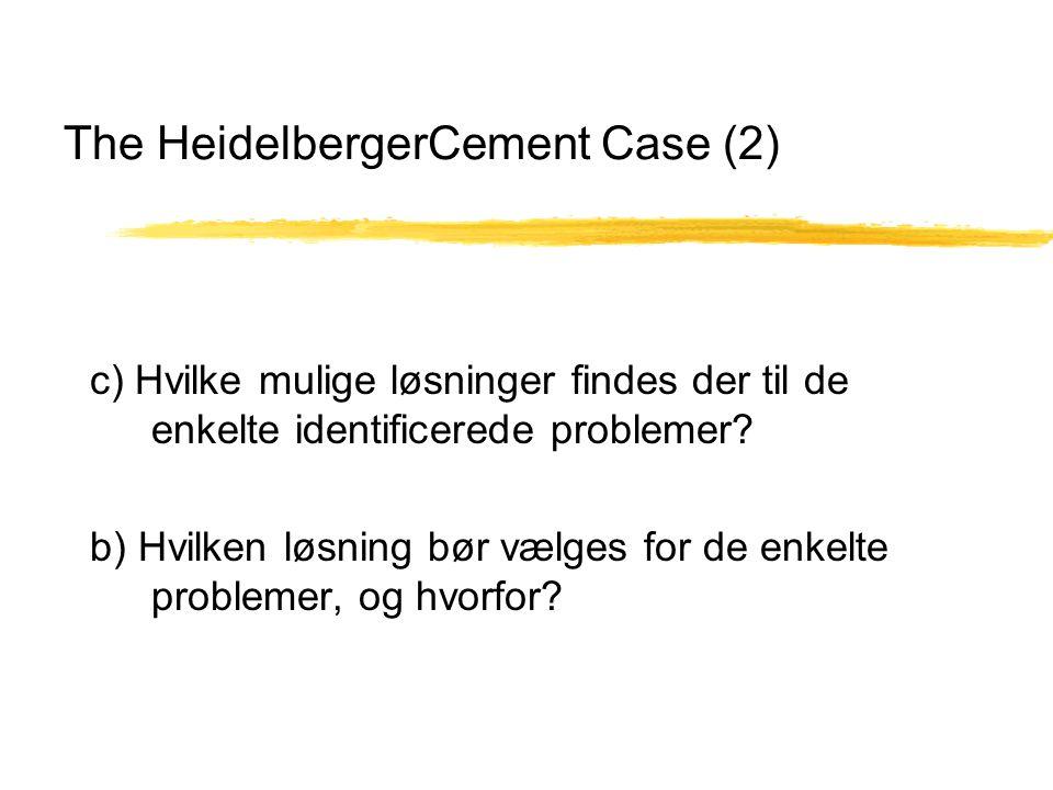 The HeidelbergerCement Case (2) c) Hvilke mulige løsninger findes der til de enkelte identificerede problemer.