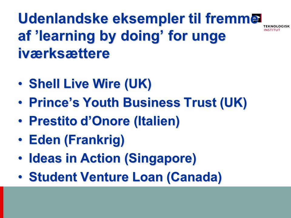 Udenlandske eksempler til fremme af 'learning by doing' for unge iværksættere Shell Live Wire (UK)Shell Live Wire (UK) Prince's Youth Business Trust (UK)Prince's Youth Business Trust (UK) Prestito d'Onore (Italien)Prestito d'Onore (Italien) Eden (Frankrig)Eden (Frankrig) Ideas in Action (Singapore)Ideas in Action (Singapore) Student Venture Loan (Canada)Student Venture Loan (Canada)