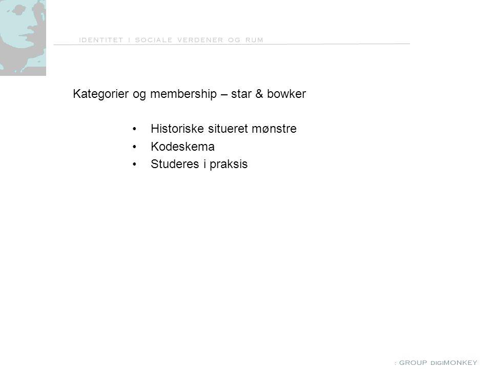 Kategorier og membership – star & bowker Historiske situeret mønstre Kodeskema Studeres i praksis