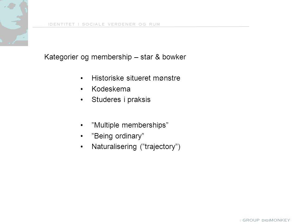 Kategorier og membership – star & bowker Historiske situeret mønstre Kodeskema Studeres i praksis Multiple memberships Being ordinary Naturalisering ( trajectory )