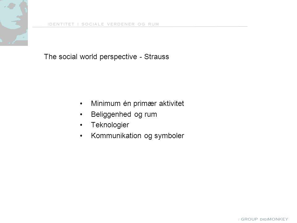 The social world perspective - Strauss Minimum én primær aktivitet Beliggenhed og rum Teknologier Kommunikation og symboler