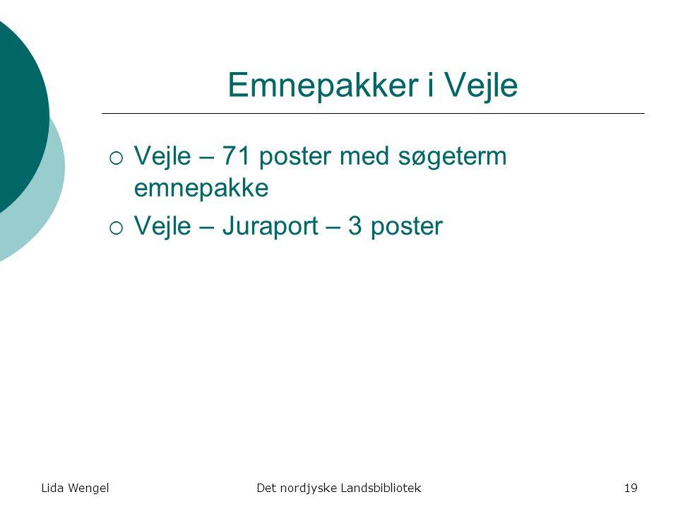 Lida WengelDet nordjyske Landsbibliotek19 Emnepakker i Vejle  Vejle – 71 poster med søgeterm emnepakke  Vejle – Juraport – 3 poster