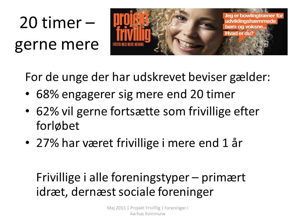 20 timer – gerne mere For de unge der har udskrevet beviser gælder: 68% engagerer sig mere end 20 timer 62% vil gerne fortsætte som frivillige efter forløbet 27% har været frivillige i mere end 1 år Frivillige i alle foreningstyper – primært idræt, dernæst sociale foreninger Maj 2013 | Projekt Frivillig | Foreninger i Aarhus Kommune