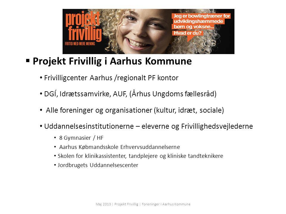  Projekt Frivillig i Aarhus Kommune Frivilligcenter Aarhus /regionalt PF kontor DGÍ, Idrætssamvirke, AUF, (Århus Ungdoms fællesråd) Alle foreninger og organisationer (kultur, idræt, sociale) Uddannelsesinstitutionerne – eleverne og Frivillighedsvejlederne 8 Gymnasier / HF Aarhus Købmandsskole Erhvervsuddannelserne Skolen for klinikassistenter, tandplejere og kliniske tandteknikere Jordbrugets Uddannelsescenter Maj 2013 | Projekt Frivillig | Foreninger i Aarhus Kommune