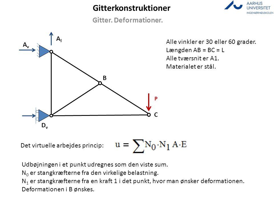 Gitterkonstruktioner Gitter. Deformationer. AlAl AvAv DvDv B C Alle vinkler er 30 eller 60 grader. Længden AB = BC = L Alle tværsnit er A1. Materialet