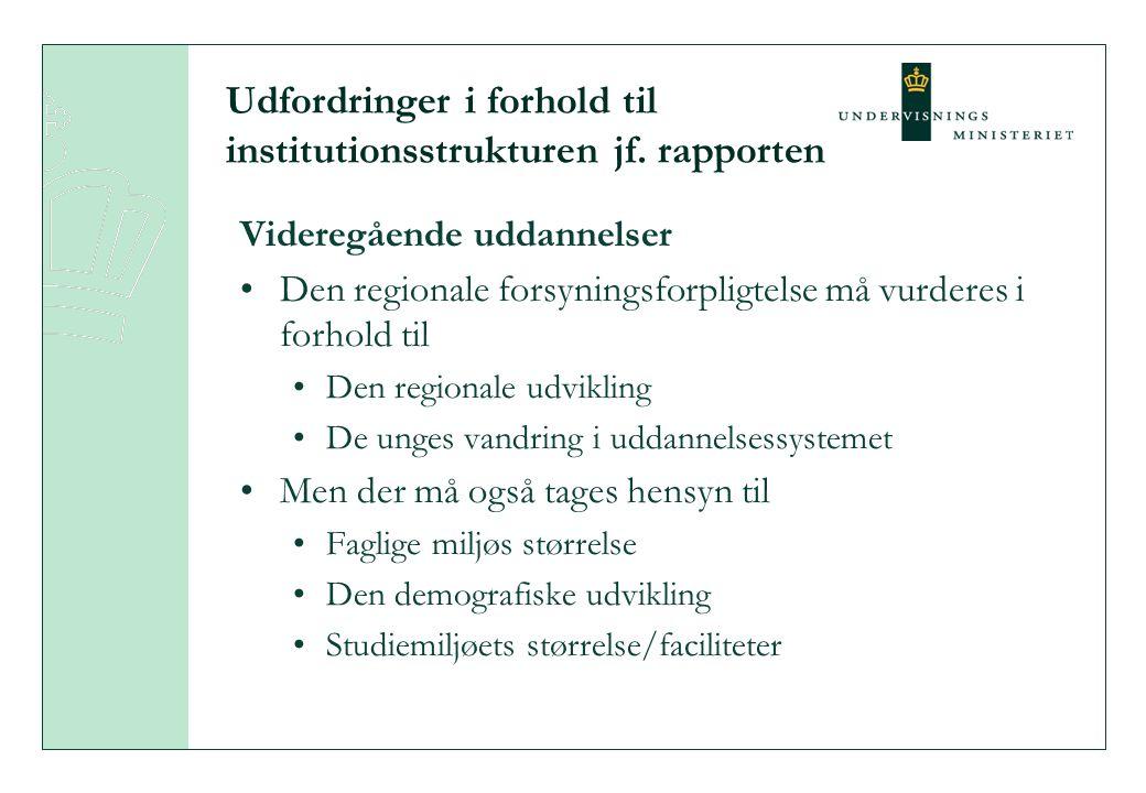 Udfordringer i forhold til institutionsstrukturen jf.