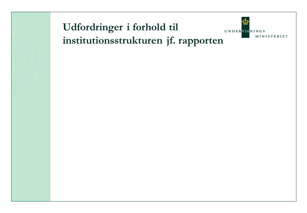 Udfordringer i forhold til institutionsstrukturen jf. rapporten