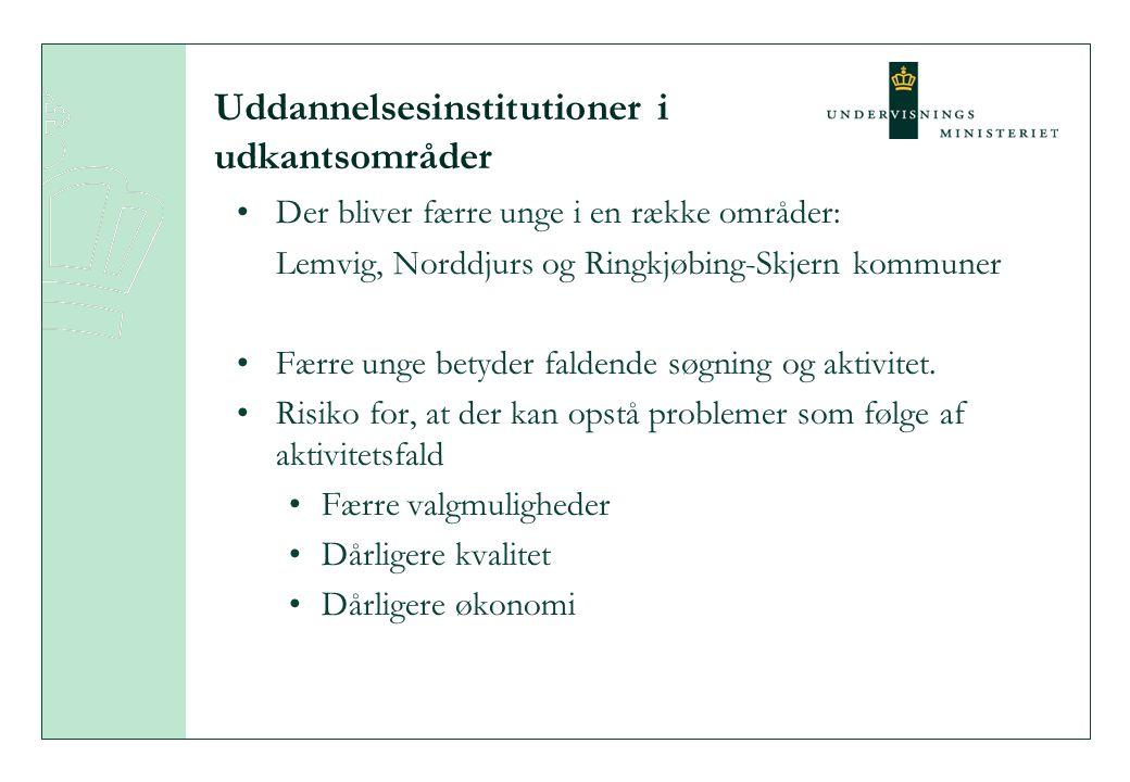 Uddannelsesinstitutioner i udkantsområder Der bliver færre unge i en række områder: Lemvig, Norddjurs og Ringkjøbing-Skjern kommuner Færre unge betyder faldende søgning og aktivitet.