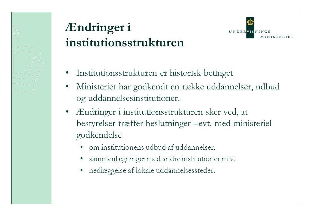 Ændringer i institutionsstrukturen Institutionsstrukturen er historisk betinget Ministeriet har godkendt en række uddannelser, udbud og uddannelsesinstitutioner.