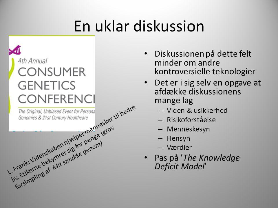 En uklar diskussion Diskussionen på dette felt minder om andre kontroversielle teknologier Det er i sig selv en opgave at afdække diskussionens mange lag – Viden & usikkerhed – Risikoforståelse – Menneskesyn – Hensyn – Værdier Pas på 'The Knowledge Deficit Model' L.