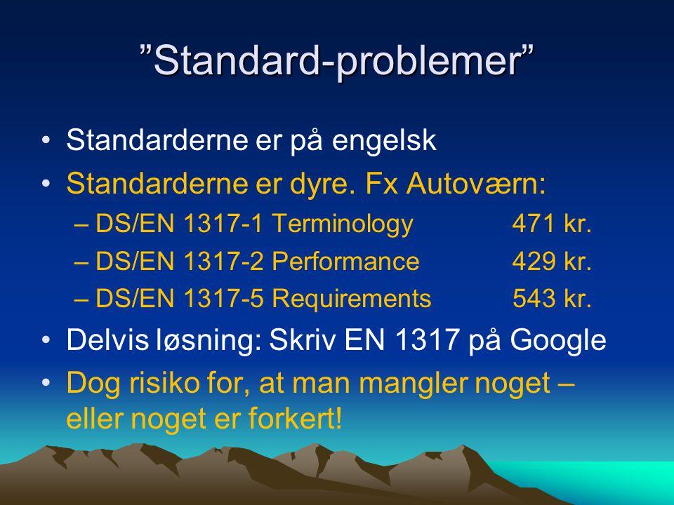 Standard-problemer Standarderne er på engelsk Standarderne er dyre.