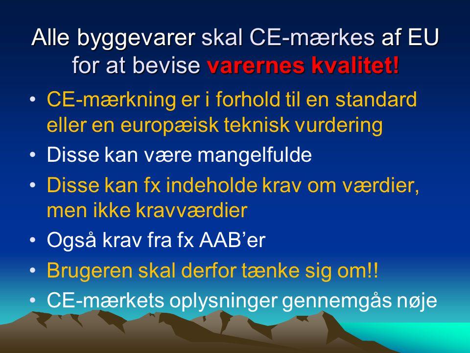 Alle byggevarer skal CE-mærkes af EU for at bevise varernes kvalitet.