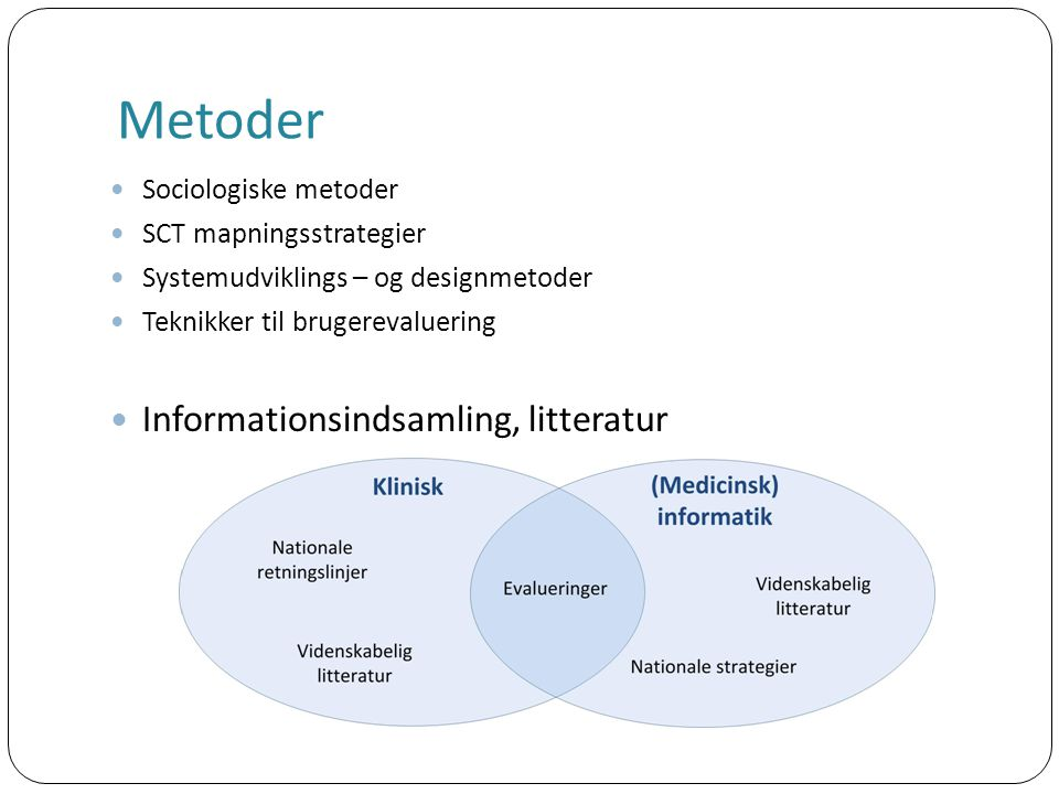 Metoder Sociologiske metoder SCT mapningsstrategier Systemudviklings – og designmetoder Teknikker til brugerevaluering Informationsindsamling, litteratur