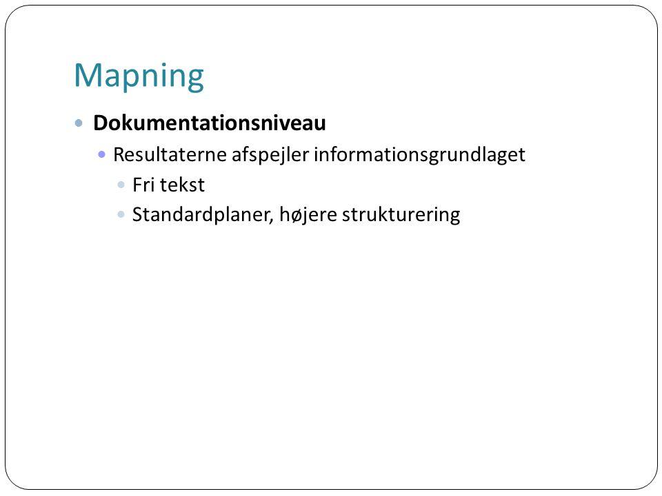 Mapning Dokumentationsniveau Resultaterne afspejler informationsgrundlaget Fri tekst Standardplaner, højere strukturering