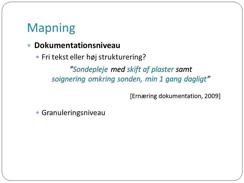 Mapning Dokumentationsniveau Fri tekst eller høj strukturering.