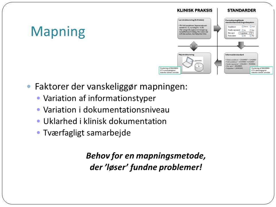 Mapning Faktorer der vanskeliggør mapningen: Variation af informationstyper Variation i dokumentationsniveau Uklarhed i klinisk dokumentation Tværfagligt samarbejde Behov for en mapningsmetode, der 'løser' fundne problemer!