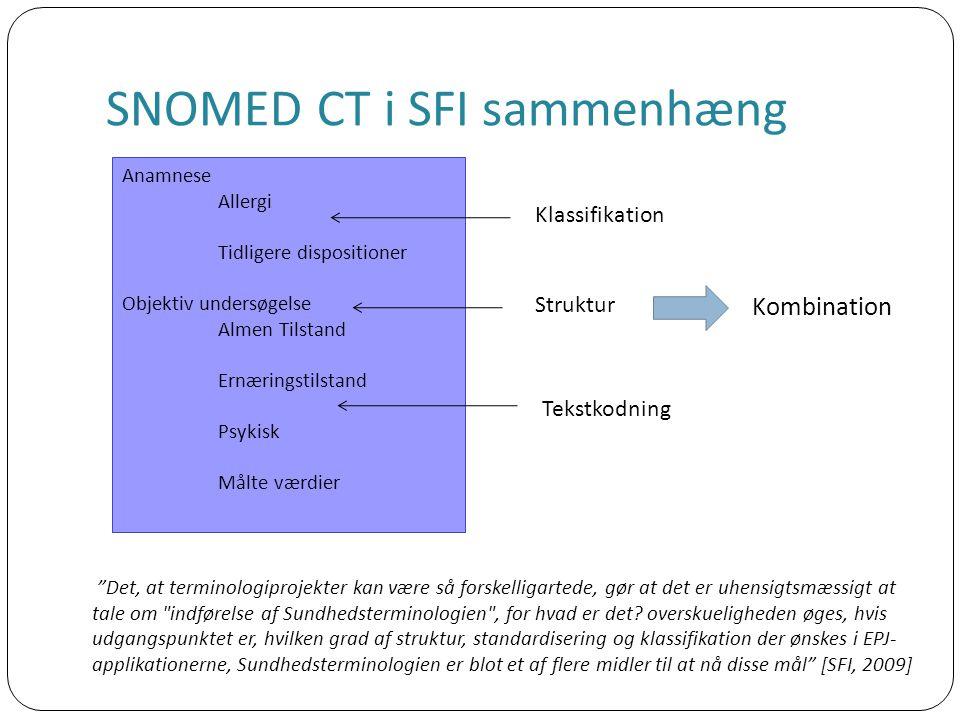 SNOMED CT i SFI sammenhæng Det, at terminologiprojekter kan være så forskelligartede, gør at det er uhensigtsmæssigt at tale om indførelse af Sundhedsterminologien , for hvad er det.