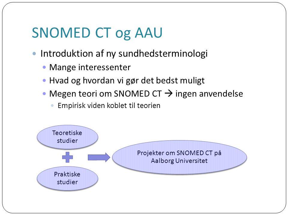 Introduktion af ny sundhedsterminologi Mange interessenter Hvad og hvordan vi gør det bedst muligt Megen teori om SNOMED CT  ingen anvendelse Empirisk viden koblet til teorien Teoretiske studier Praktiske studier Projekter om SNOMED CT på Aalborg Universitet