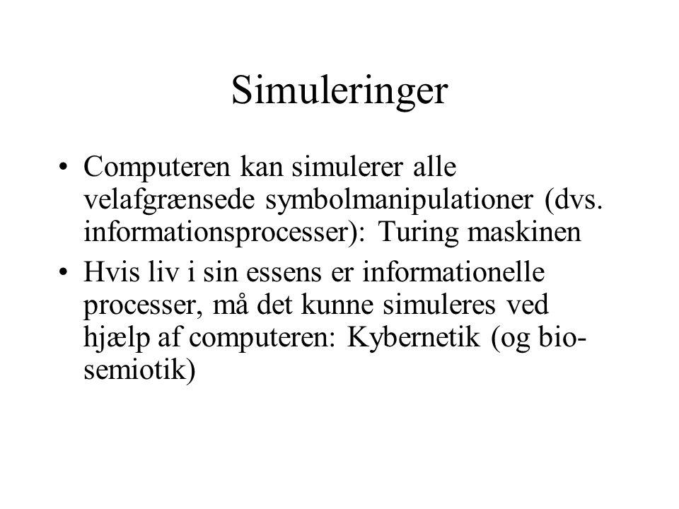 Simuleringer Computeren kan simulerer alle velafgrænsede symbolmanipulationer (dvs.