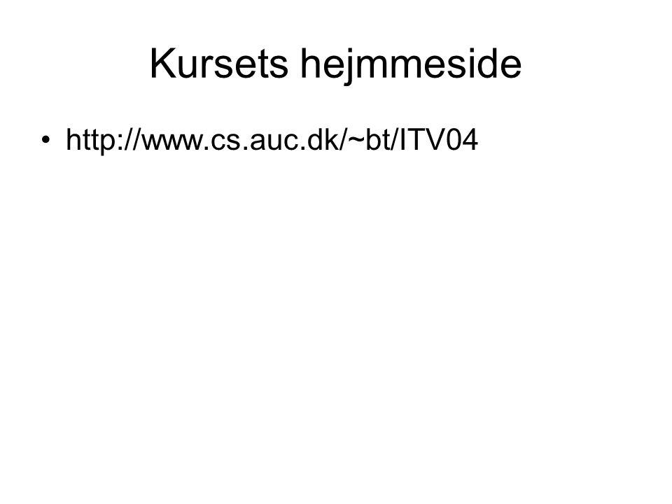 Kursets hejmmeside http://www.cs.auc.dk/~bt/ITV04