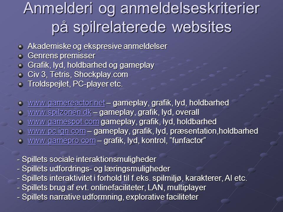 Anmelderi og anmeldelseskriterier på spilrelaterede websites Akademiske og ekspresive anmeldelser Genrens premisser Grafik, lyd, holdbarhed og gameplay Civ 3, Tetris, Shockplay.com Troldspejlet, PC-player etc.