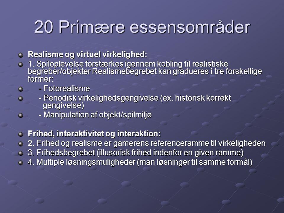 20 Primære essensområder Realisme og virtuel virkelighed: 1.