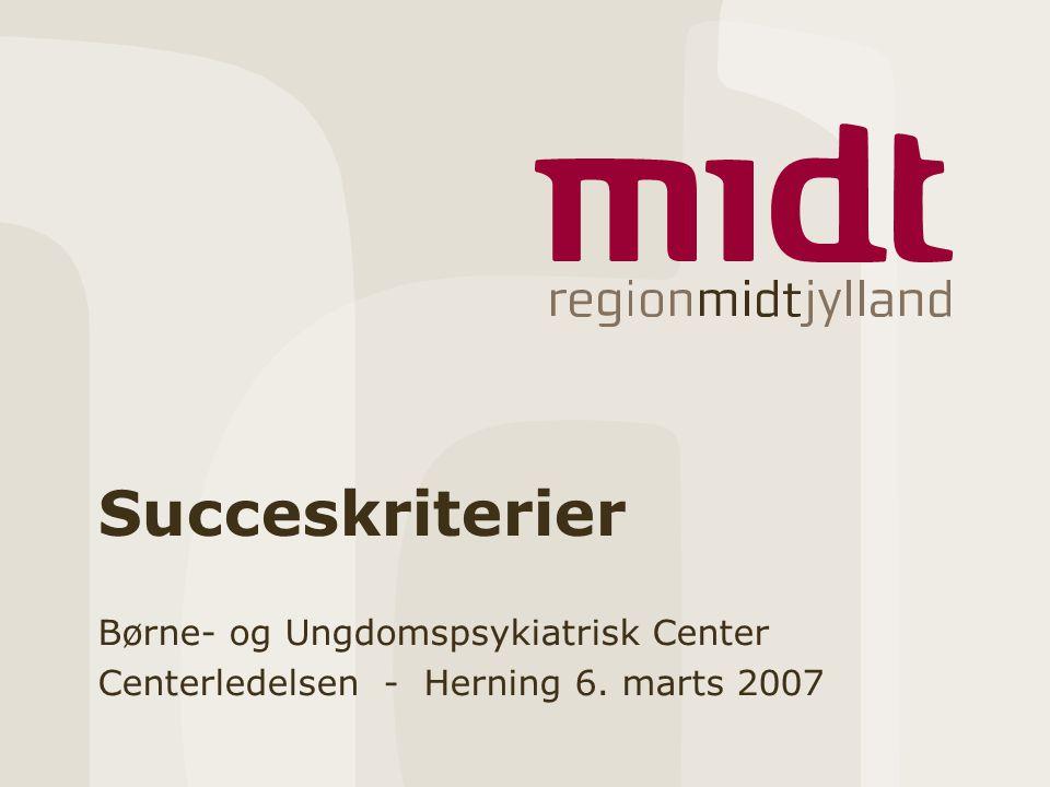 Succeskriterier Børne- og Ungdomspsykiatrisk Center Centerledelsen - Herning 6. marts 2007
