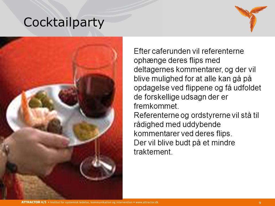Cocktailparty 9 Efter caferunden vil referenterne ophænge deres flips med deltagernes kommentarer, og der vil blive mulighed for at alle kan gå på opdagelse ved flippene og få udfoldet de forskellige udsagn der er fremkommet.