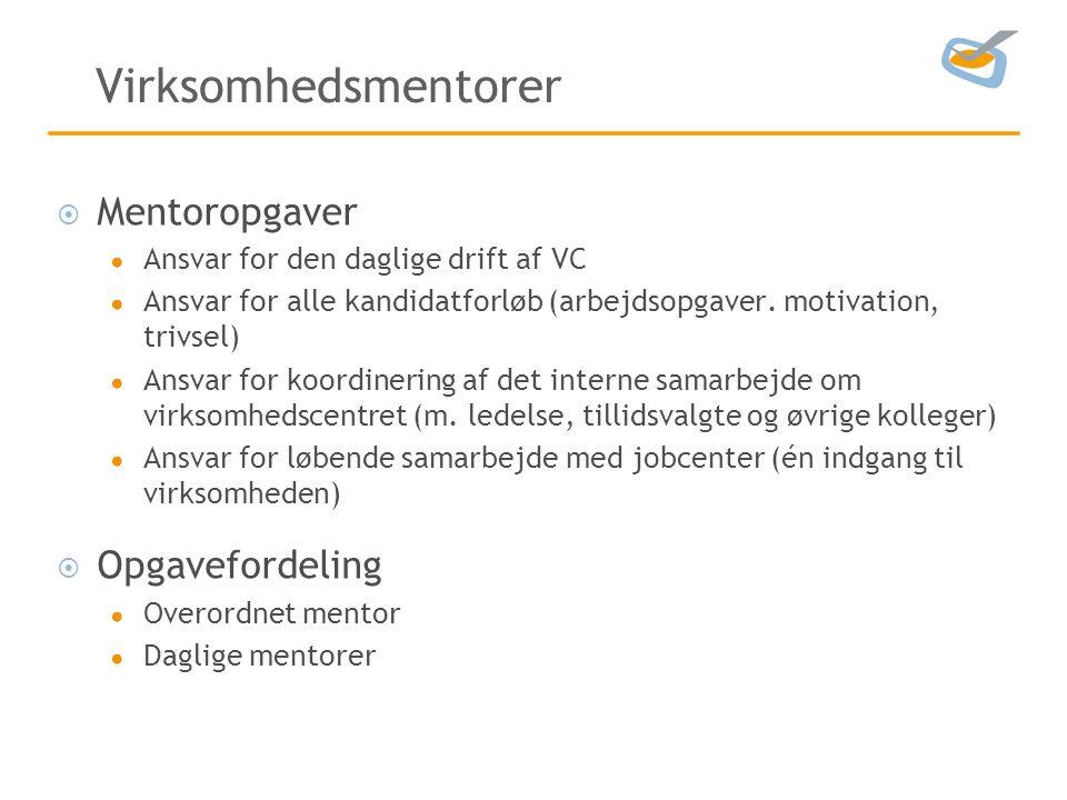 Virksomhedsmentorer  Mentoropgaver ● Ansvar for den daglige drift af VC ● Ansvar for alle kandidatforløb (arbejdsopgaver.