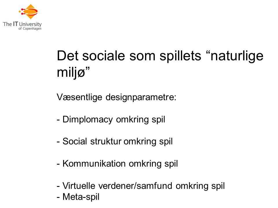 Det sociale som spillets naturlige miljø Væsentlige designparametre: - Dimplomacy omkring spil - Social struktur omkring spil - Kommunikation omkring spil - Virtuelle verdener/samfund omkring spil - Meta-spil