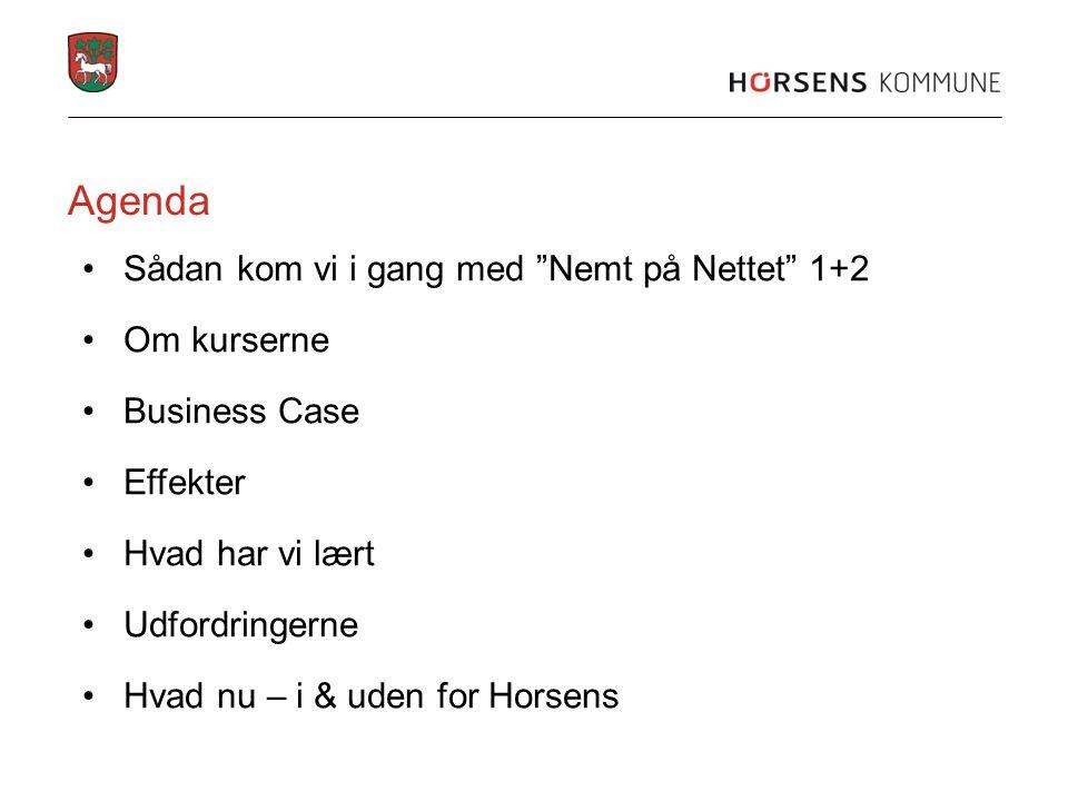 Agenda Sådan kom vi i gang med Nemt på Nettet 1+2 Om kurserne Business Case Effekter Hvad har vi lært Udfordringerne Hvad nu – i & uden for Horsens