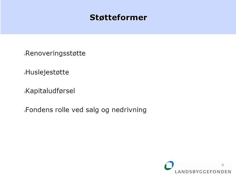  Renoveringsstøtte  Huslejestøtte  Kapitaludførsel  Fondens rolle ved salg og nedrivningStøtteformer 4