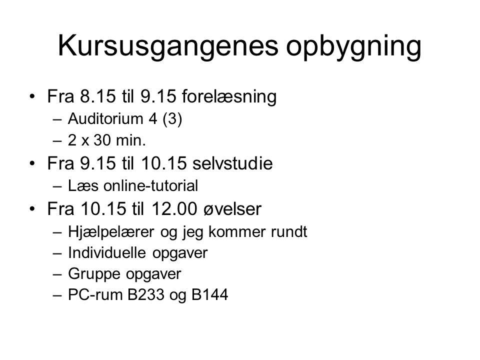 Kursusgangenes opbygning Fra 8.15 til 9.15 forelæsning –Auditorium 4 (3) –2 x 30 min.