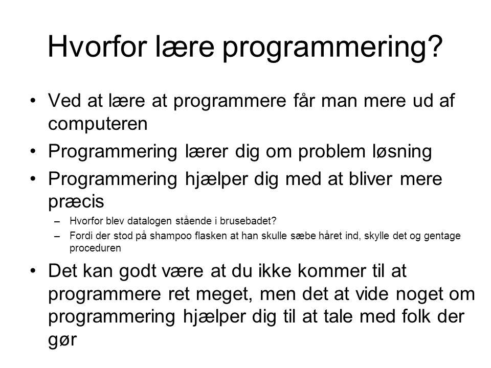 Hvorfor lære programmering.