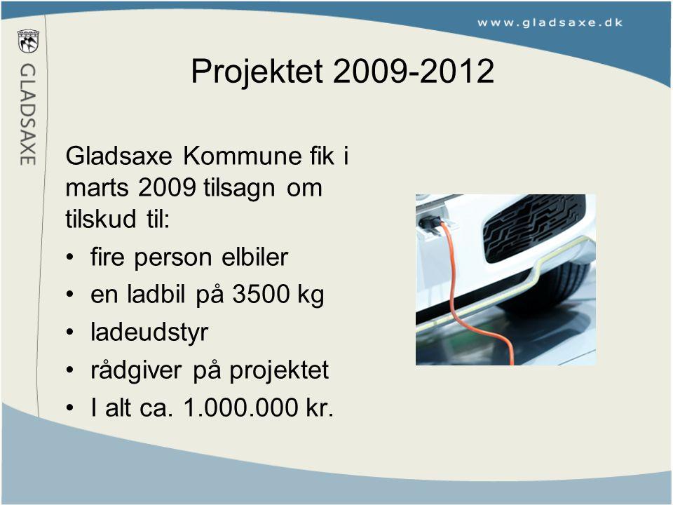 Projektet 2009-2012 Gladsaxe Kommune fik i marts 2009 tilsagn om tilskud til: fire person elbiler en ladbil på 3500 kg ladeudstyr rådgiver på projektet I alt ca.