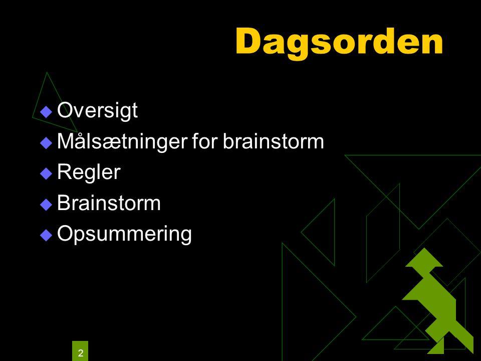 2 Dagsorden  Oversigt  Målsætninger for brainstorm  Regler  Brainstorm  Opsummering