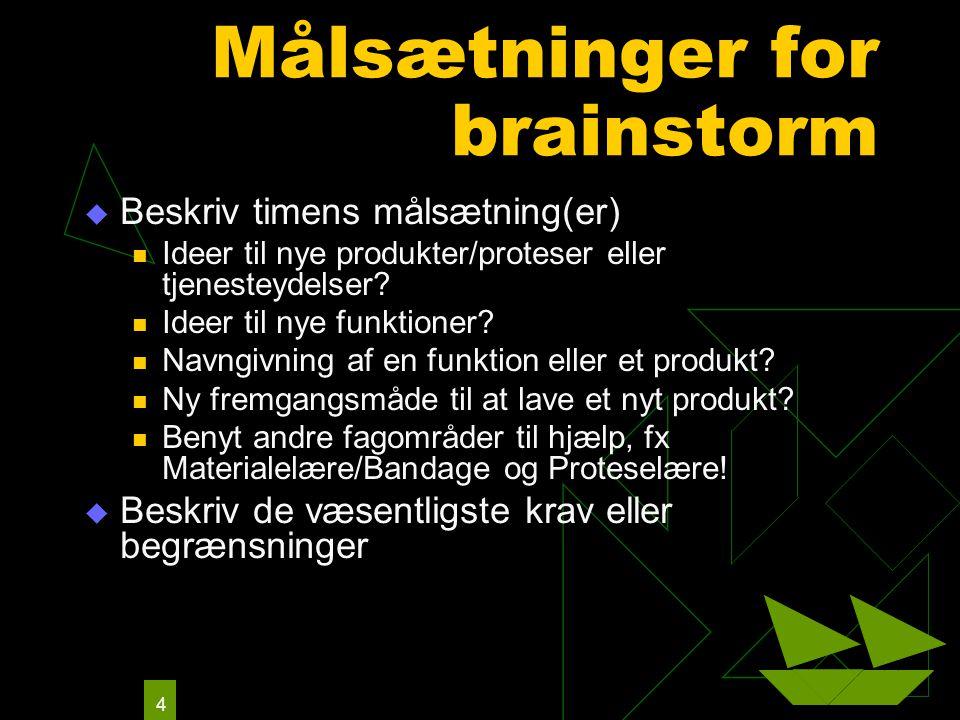 4 Målsætninger for brainstorm  Beskriv timens målsætning(er) Ideer til nye produkter/proteser eller tjenesteydelser.